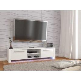 MORAVIA FLAT TV stolek HELIX NEW, bílá/bílý lesk