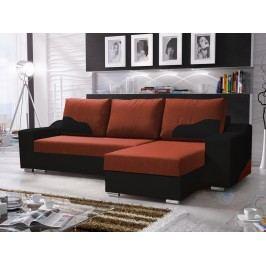 Smartshop Rohová sedačka WILLIAM 270/4, oranžová látka/černá ekokůže