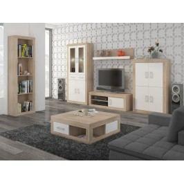 Obývací stěna VERIN 10, dub sonoma/bílý lesk