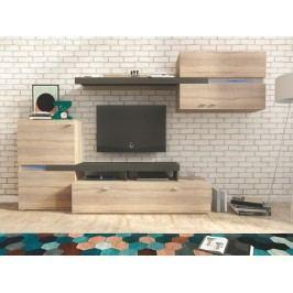 JET obývací stěna, dub sonoma/grafit