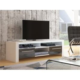 ROCKY televizní stolek, bílá/černý lesk
