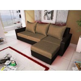 Rohová sedačka MALAGA BIS 8, hnědá látka/černá ekokůže