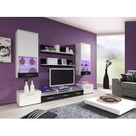 CAMA II, obývací stěna, bílá/bílý a černý lesk