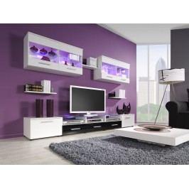 CAMA I, obývací stěna, bílá/bílý a černý lesk