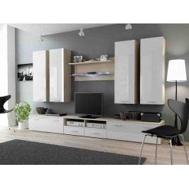 DREAM III, obývací stěna, dub sonoma/bílý lesk