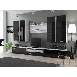 DREAM III, obývací stěna, bílá/černý lesk