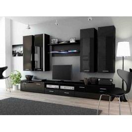 DREAM III, obývací stěna, černá/černý lesk