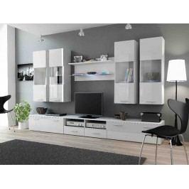 DREAM I, obývací stěna, bílá/bílý lesk