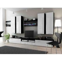 DREAM III, obývací stěna, černá/bílý lesk