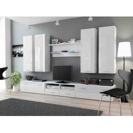 DREAM III, obývací stěna, bílá/bílý lesk