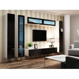 Obývací stěna VIGO 6, bílá/černý lesk