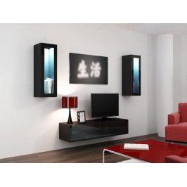 CAMA *Obývací stěna VIGO 8, černá/černý lesk