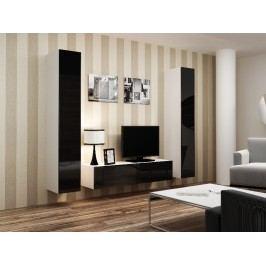 CAMA *Obývací stěna VIGO 9, bílá/černý lesk