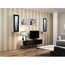 CAMA *Obývací stěna VIGO 8, bílá/černý lesk