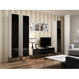 CAMA Obývací stěna VIGO 14, bílá/černý lesk