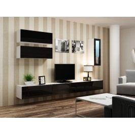 Obývací stěna VIGO 12, bílá/černý lesk