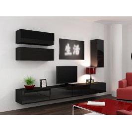 Obývací stěna VIGO 13, černá/černý lesk