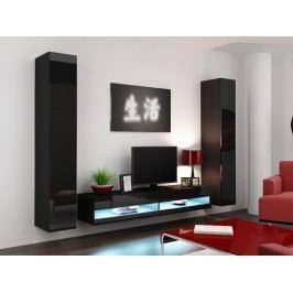 Obývací stěna VIGO NEW 4, černá/černý lesk