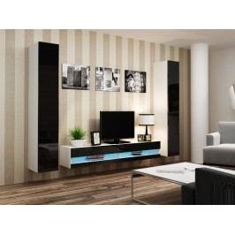 CAMA Obývací stěna VIGO NEW 4, bílá/černý lesk