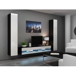 CAMA *Obývací stěna VIGO NEW 4, černá/bílý lesk