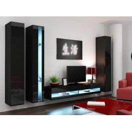 Obývací stěna VIGO NEW 7, černá/černý lesk