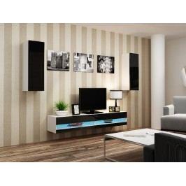 Obývací stěna VIGO NEW 10, bílá/černý lesk