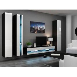 Obývací stěna VIGO NEW 7, černá/bílý lesk