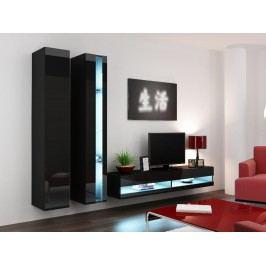 Obývací stěna VIGO NEW 5, černá/černý lesk