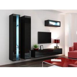 Obývací stěna VIGO NEW 2, černá/černý lesk
