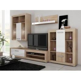 MORAVIA FLAT VIKY, obývací stěna, dub sonoma/bílý lesk