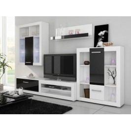 VIKY, obývací stěna, bílá/černý lesk