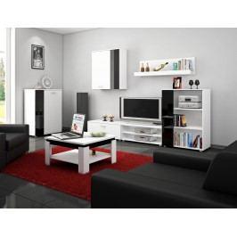 Obývací stěna SKY, bílá/černý lesk