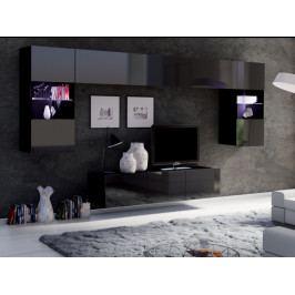 Obývací stěna CALABRINI, černá/černý lesk ZRUŠENO