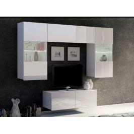 Obývací stěna CALABRINI, bílá/bílý lesk