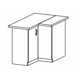 ASPEN, skříňka dolní rohová D90N levá, bílá/bílý lesk