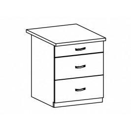 ASPEN, skříňka dolní D60S3, bílá/bílý lesk