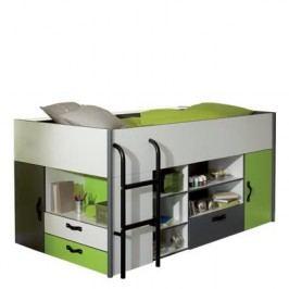 Idea Patrová postel KIWI, 90x200 cm včetně roštu, bílá/zelená