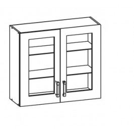 EDAN horní skříňka G80/72 vitrína, korpus bílá alpská, dvířka béžová písková