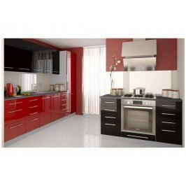 Extom Kuchyně PLATINUM 270/410 cm, korpus grey, rose red + black