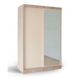 Skříň MATIS GD 553 O se zrcadlem, dub/béžový lesk
