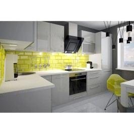 Rohová kuchyně PLATINUM 315x140 cm, korpus grey, dvířka camel