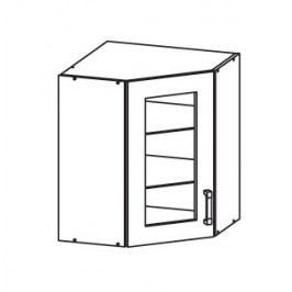 EDAN horní skříňka GNWU vitrína - rohová, korpus šedá grenola, dvířka bílá canadian