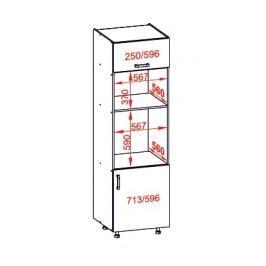 TAFNE vysoká skříň DPS60/207O pravá, korpus congo, dvířka bílý lesk