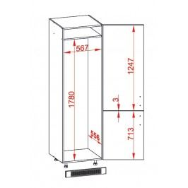 TAFNE skříň na lednici DL60/207 pravá, korpus congo, dvířka béžový lesk