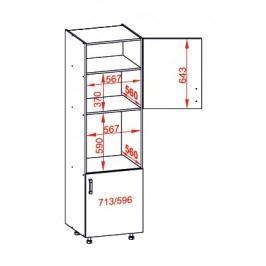 TAFNE vysoká skříň DPS60/207 pravá, korpus wenge, dvířka bílý lesk