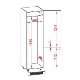 TAFNE skříň na lednici DL60/207 pravá, korpus wenge, dvířka béžový lesk