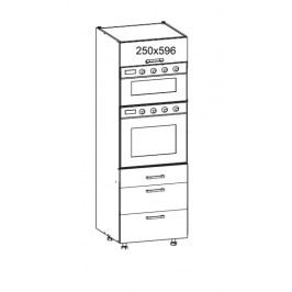 TOP LINE vysoká skříň DPS60/207 SAMBOX O, korpus šedá grenola, dvířka bílý lesk