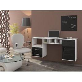 MORAVIA FLAT Psací stůl HANGER, bílá/černý lesk