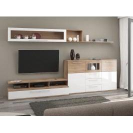 AMBIENTE, obývací stěna, dub sonoma/bílý lesk