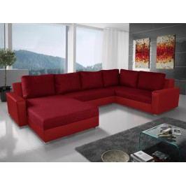 Rohová sedačka BONO U 3 pravá, vínová látka/červená ekokůže